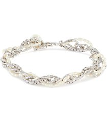 twisted freshwater pearl white gold plated chain bracelet