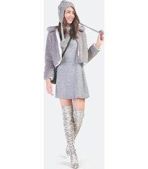 max cropped sherpa jacket - gray