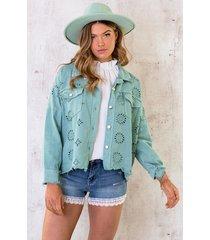 denim embroidery jacket mint