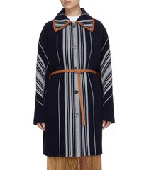 belted single-breast stripe wool cashmere blend coat