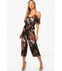 cold shoulder dark floral jumpsuit, khaki