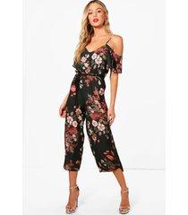 donkere bloemenprint jumpsuit met uitgesneden schouders, khaki