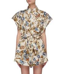 'aliane' floral print waist tie detail playsuit