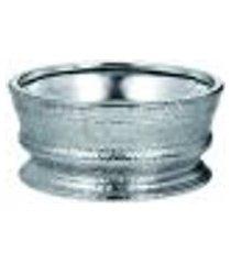 centro de mesa cerâmica prata decoração 26,5x12,5x26,5cm