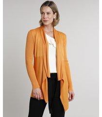 capa feminina assimétrica com recorte em tricô laranja