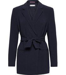 fluid twill belted blazer blazers casual blazers blå tommy hilfiger