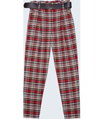 motivi pantaloni paperbag fantasia check donna rosso