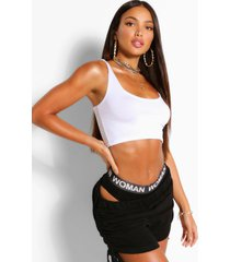 tall basic crop top met lage ronde hals, white