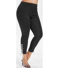 plus size grommet lace-up skinny pants