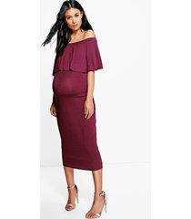maternity off the shoulder midi dress, berry