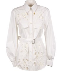 j.w. anderson belted cut out belt sleeve shirt