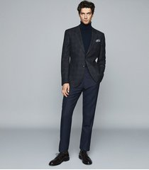 reiss hermitage - wool cotton blend checked blazer in indigo, mens, size 34