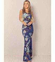 vestido longo viscolycra decotado sereia floral