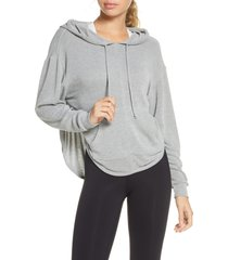 women's free people fp movement back into it cutout hoodie, size x-small - grey