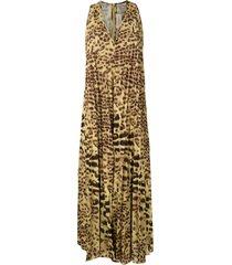 adriana degreas leopard print pleated dress - yellow