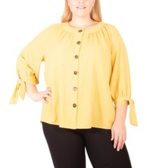 ny collection plus size metallic tie-sleeve button-up shirt