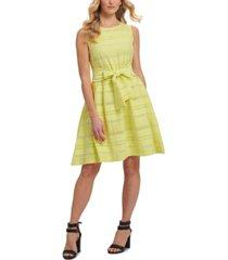 dkny multi-texture striped fit & flare dress