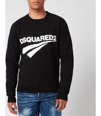 dsquared2 men's raglan fit logo sweatshirt - black - xxl