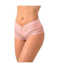 calcinha calesson em microfibra com renda - calmf029 rosa vip lingerie