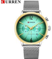 curren / 8313 malla de acero para hombres con reloj-verde