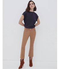 motivi pantaloni cropped in drill donna marrone