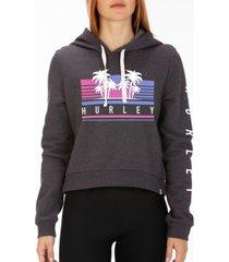 hurley tropicana cropped fleece hoodie
