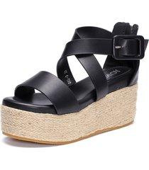 plataforma tejida negra sandalias con cremallera trasera