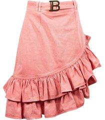balmain pink asymmetrical skirt