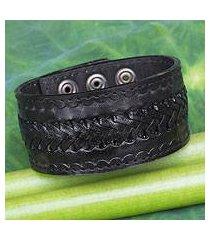 men's leather wristband bracelet, 'rugged black' (thailand)