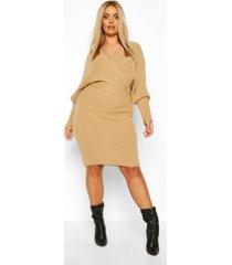 plus wrap knittted midi dress, camel