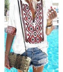 blusa de media manga con cuello en v profundo tribal zanzea