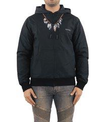marcelo burlon feathers nylon padded hoodie b