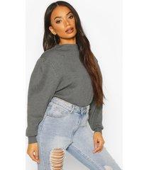 petite volume sleeve sweater, grey marl