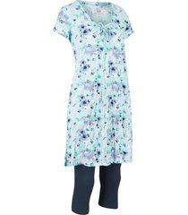 tunica lunga effetto stropicciato e leggings a pinocchietto (set 2 pezzi) (blu) - bpc bonprix collection