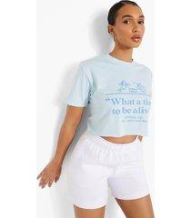 kort t-shirt met opdruk, light blue