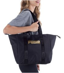 bolsa puma core base large shopper - feminina - preto