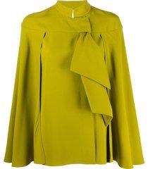 alberta ferretti ruffled cape blouse - green