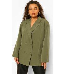 plus oversized blazer met zak detail, khaki