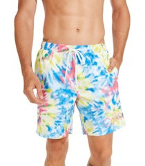 "calvin klein men's logo 7"" tie-dye swim trunks, created for macy's"