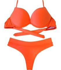 biquíni bojo bolha alça estreita divance calcinha fio dental cós duplo laranja havana