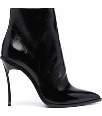 casadei maxi blade black leather ankle boots