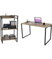 conjunto escritório estilo industrial mesa 120cm e estante 60cm 3 prateleiras prisma carvalho - mpozenato