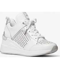 mk sneaker georgie in pelle traforata - bianco ottico (bianco) - michael kors