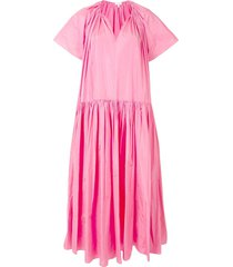 delpozo oversized-fit tiered dress - pink