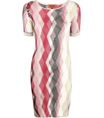 missoni argyle pattern jumper dress - red