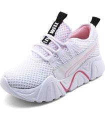 tenis moda dama sneakers tellenzi 2239- blanco*rosa