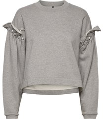 dani cropped jumper with pearl shoulder sweat-shirt trui grijs mother of pearl