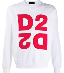 dsquared2 mirrored logo crew-neck sweatshirt - white