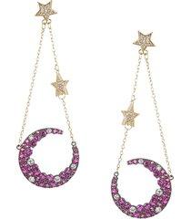eye candy la women's 18k goldplated & cubic zirconia dangle moon earrings