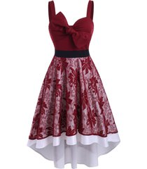 lace overlay bowknot high low party dress